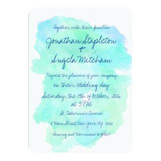 Blue teal watercolor vintage handwritten Wedding Card