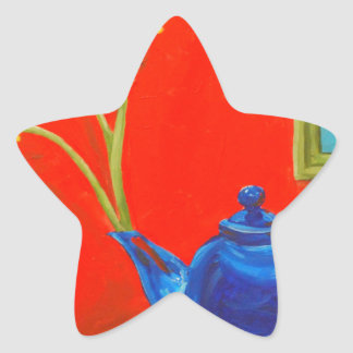 Blue Teapot and Daisies Star Sticker