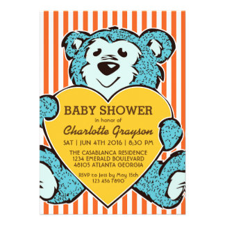 Blue Teddy Bear and Love Baby Shower Invitation