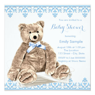 Blue Teddy Bear Baby Shower Card