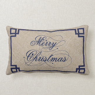 Blue Text & Beige Linen Marry Christmas Lumbar Cushion