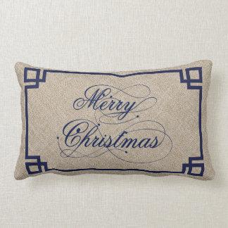 Blue Text & Beige Linen Marry Christmas Lumbar Pillow