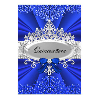 Blue Tiara Damask Quinceanera Invite Invitations
