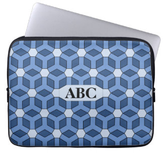 Blue Tiled Hex Laptop Sleeve