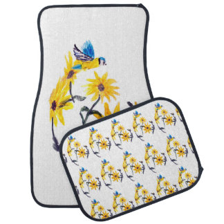 Blue Tit and Yellow Sunflowers Art, Floral Car Mat