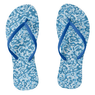 Blue Tones Abstract Pattern Flip Flops Thongs