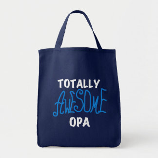 Blue Totally Awesome Opa T-shirts and Gifts Grocery Tote Bag