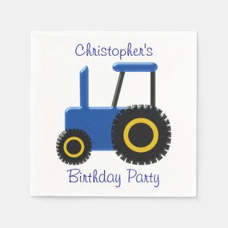 Blue Tractor Birthday Disposable Serviettes