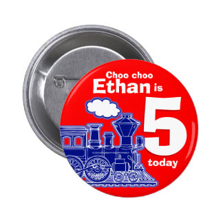 Blue train red birthday name age 5 button