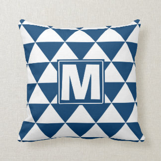 Blue Triangle Monogram Throw Pillow