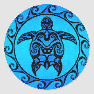 Blue Tribal Turtle Sun Classic Round Sticker