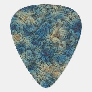 Blue Tsunami Ocean Tidal Waves Aged Water Color Guitar Pick