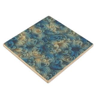 Blue Tsunami Ocean Tidal Waves Aged Water Color Wood Coaster