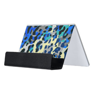 Blue Turquoise Black Cheetah Abstract Desk Business Card Holder