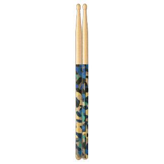 Blue Turquoise Black Cheetah Abstract Drum Sticks