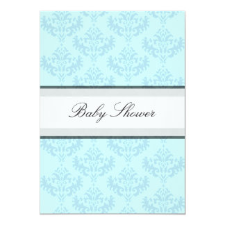 Blue & Turquoise Damask It's a Boy Baby Shower Invite