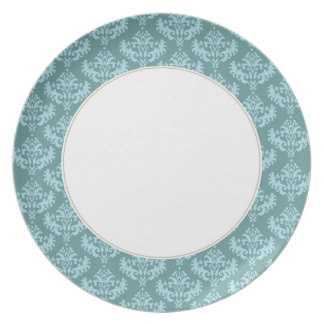 Blue & Turquoise damask plate
