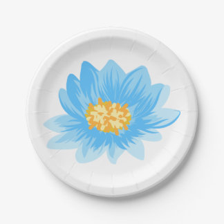 Blue Turquoise Flower Watercolor Floral Wedding 7 Inch Paper Plate