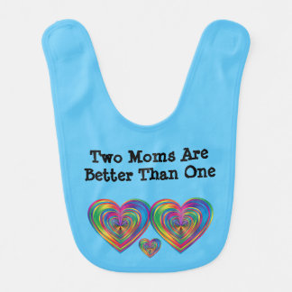 Blue Two Moms Are Better Than One Bib