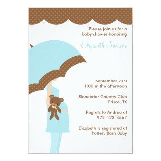 Blue Umbrella Baby Shower Invitations