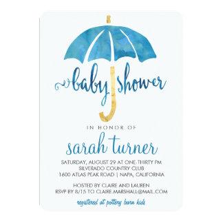 Blue Umbrella Boy Baby Shower Invitations