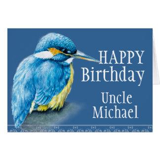 Blue Uncle bird fine art painted birthday card