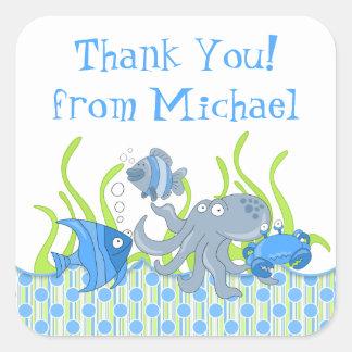 Blue Underwater Critters Birthday Favor Stickers