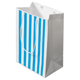 Blue Vertical Stripes Medium Gift Bag