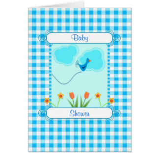 Blue Vichy Baby Shower Greeting Cards