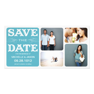 BLUE VINTAGE COLLAGE   SAVE THE DATE ANNOUNCEMENT CARD