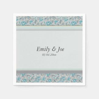 Blue vintage floral chintz wedding paper serviettes