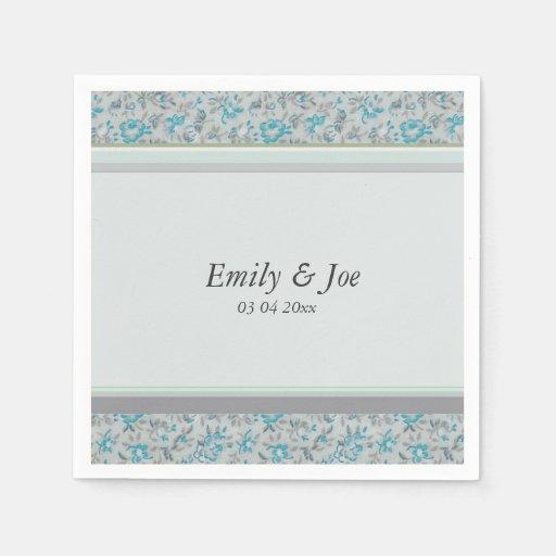 Blue vintage floral chintz wedding disposable napkins