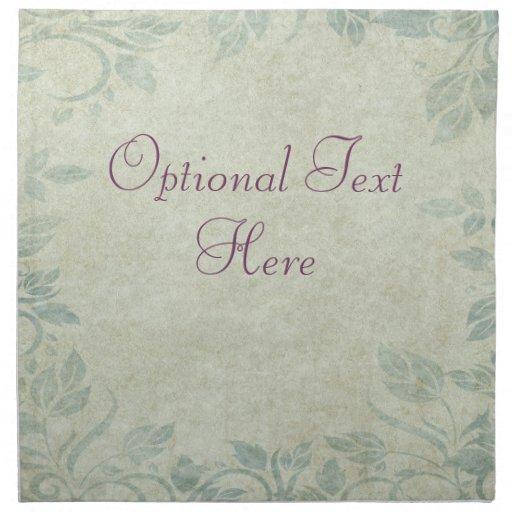Blue Vintage Floral Vine Wedding Cloth Napkin