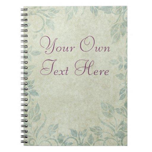 Blue Vintage Floral Vine Wedding Notebook