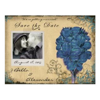 Blue Vintage Floral Wedding Save the Date Postcard