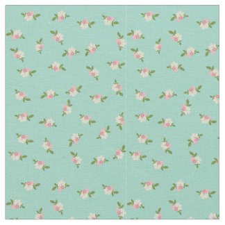 Blue Vintage Flower Pattern Fabric