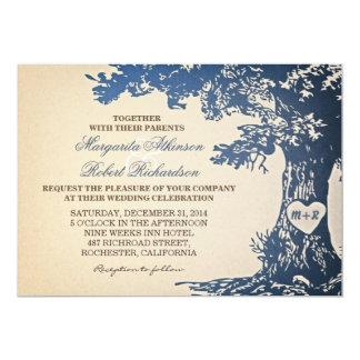 """blue vintage old oak tree wedding invitations 5"""" x 7"""" invitation card"""