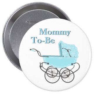 Blue Vintage Pram Mommy To Be Baby Shower Button