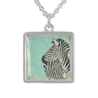 Blue Vintage Zebra Necklace