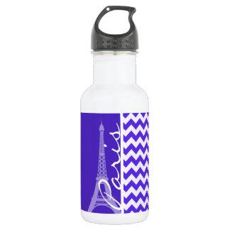 Blue Violet Chevron; Eiffel Tower 532 Ml Water Bottle