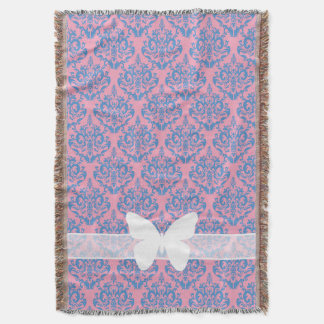 Blue Violet Frosted Orchid Damask with Butterfly Throw Blanket