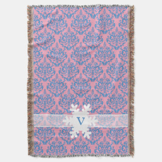 Blue Violet Frosted Orchid Damask with Snowflake Throw Blanket