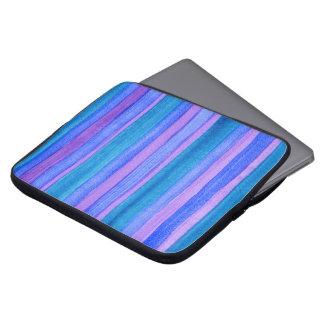 Blue, Violet, Teal Painted Stripes Laptop Sleeve