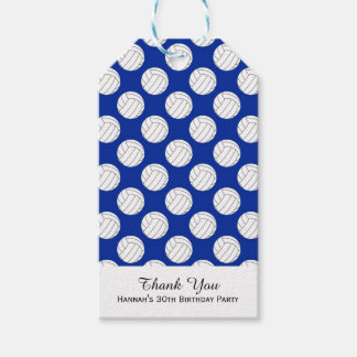 Blue Volleyball Theme Birthday Gift Tags