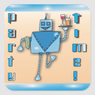 Blue Waiter Robot with Tray of Drinks Stickers