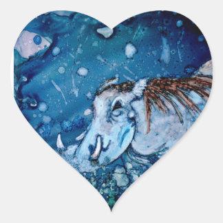 Blue Warthog Heart Sticker