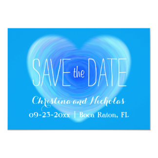 Blue Water Heart Save the Date Engagement Photo Card