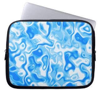 Blue water swirls / army style print laptop sleeve