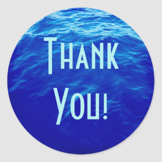 Blue Water Thank You Round Sticker