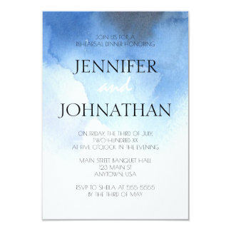 Blue watercolor beach rehearsal dinner invitations